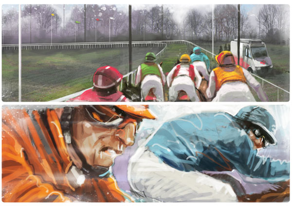 Storyboard pour un projet de course de chevaux virtuels